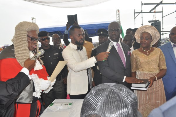 Edo State Chief Judge . Justice Cromwell Idahosa, administering  oath of office to Obaseki