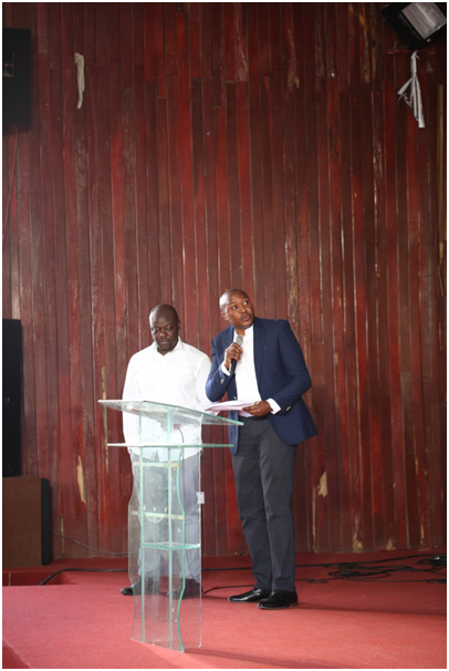 Award-winning author and poet, Helon Habilaand Elvis Ogiemwanye, Etisalat Nigeria's Director, Brand and Experience announce the longlist for the Etisalat Prize for Literature.  Photo: Adedeji Hamed/Elixir