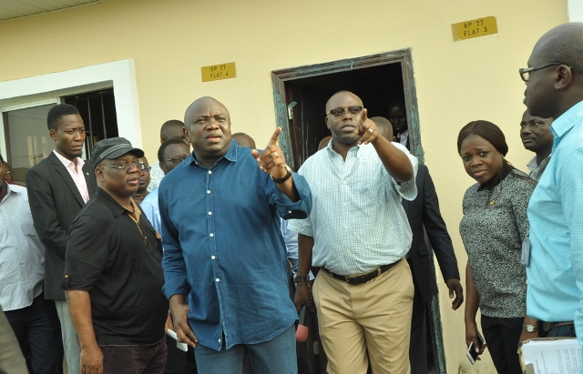 L-R: Lagos State Governor, Mr. Akinwunmi Ambode (2nd left); Commissioner for Works & Infrastructure, Engr. Ganiyu Johnson (left); his counterpart for Housing, Mr. Gbolahan Lawal (2nd left) and Special Adviser on Urban Development, Mrs. Yetunde Onabule  during the Governor's inspection of Sir Michael Otedola Housing Estate at Odoragunshin, Epe, on Monday, November 21, 2016.