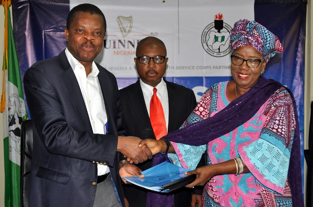 L-R, Director, Corporate Relations, Guinness Nigeria Plc, Sesan Sobowale, Director Legal Services National Youth Service Corp, Ahmed Tijani Ibrahim and Director, Community Development Services, NYSC,  Rhoda Kaka Kwaki, during the signing of Memorandum of Understanding between Guinness and NYSC on Responsible Drinking Campaign Initiative held in Abuja recently
