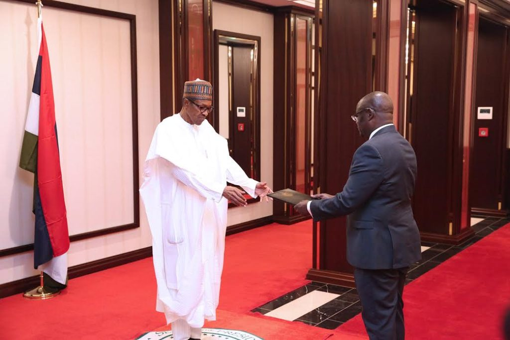 President Buhari receiving Letter of Credence of the Ambassador of the Republic of South Sudan, Mr Paul Malong Akaro, at the State House