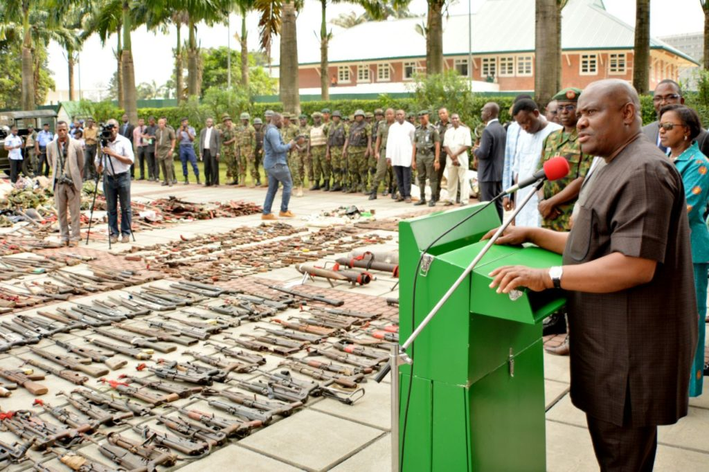 Governor Wike declaring the first phase of the State Amnesty Programme closed at the Government House,  Port Harcourt on Tuesday