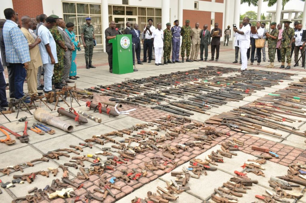 rms , ammunitions and explosives recovered at the close of the Rivers State Amnesty Programme at the Government House , Port Harcourt on Tuesday .