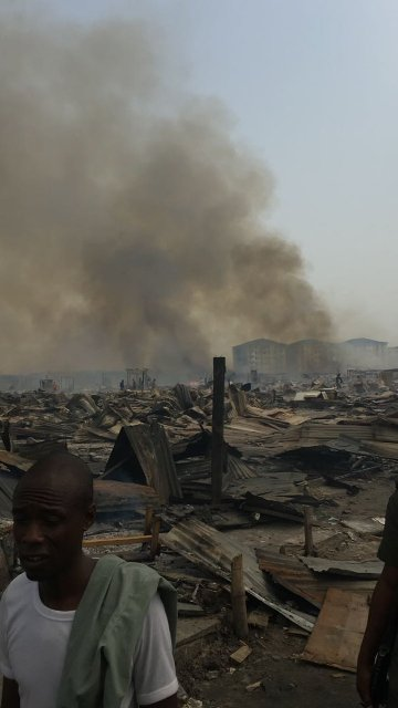 Ruins after the clash in Lekki Phase 1