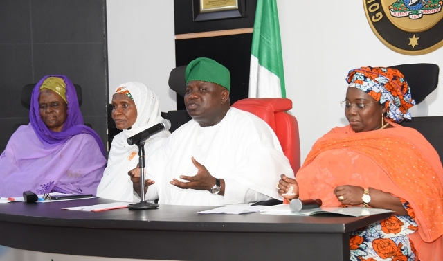 Governo Akinwunmi Ambode (2nd right), with Deputy Governor, Dr. (Mrs.) Oluranti Adebule; National President, Federation of Muslim Women Association of Nigeria (FOMWAN), Hajia Amina Omoti and former National President of the Association, Alhaja Latifat Okunnu during a courtesy visit to the Governor at the Lagos House, Ikeja, on Thursday, November 3, 2016.