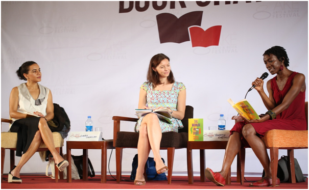 From left: Sarah LadipoManyika (left) and Emma Shercliff (centre) look on as YewandeOmotoso reads from her book, The Woman Next Door. Photograph: AdedejiHamed/Elixir