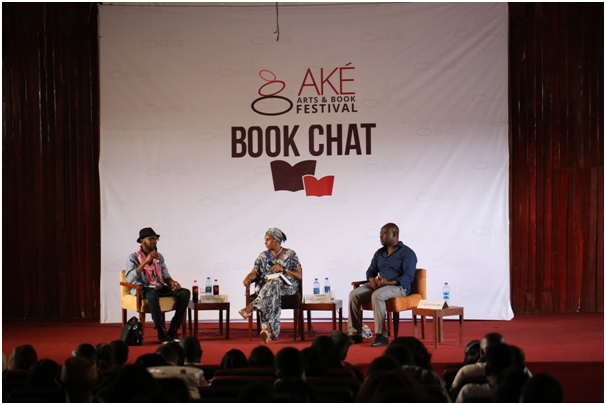 Teju Cole (left), Kadaria Ahmed (centre) and HelonHabila (right) during a book chat. Photograph: Adedeji Hamed/Elixir