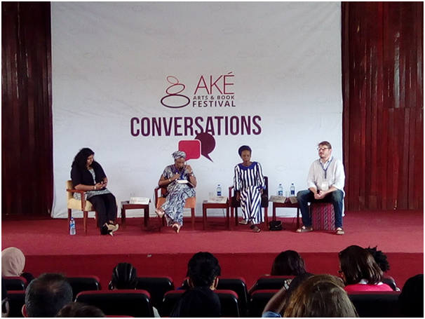 From left: ChitraNagarajan, Kadaria Ahmed, FatiAbubakar and Andrew Walker during their discussion about women in a post Boko-Haram reality. Photograph: Adefoyeke Ajao