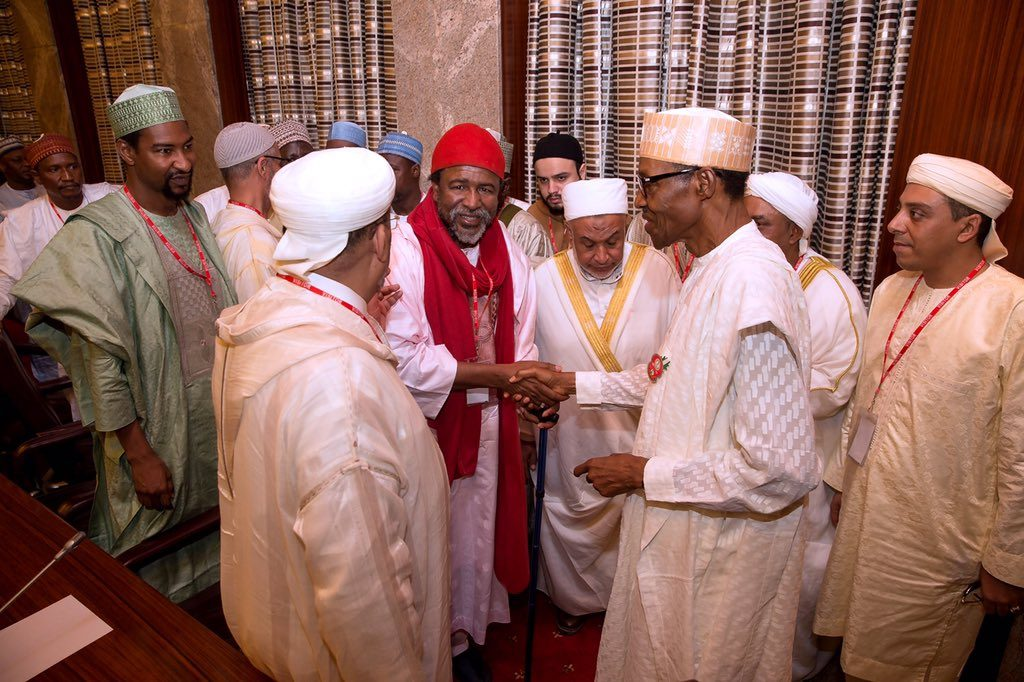 President Buhari during the meeting with Tijjaniyya Islamic Movement led by Sheikh Sharif Mohammed Kabir Ibn Mohammad at State House, Abuja