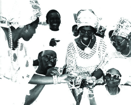 A TOAST TO THE PATRIARCH AT 70: Tokunbo (extreme left) joining HID, Venerable Sewo, the Vicar of St Saviours Church, Ikenne, Chief (Mrs.) Longe and one other in a toast to Chief Awolowo.