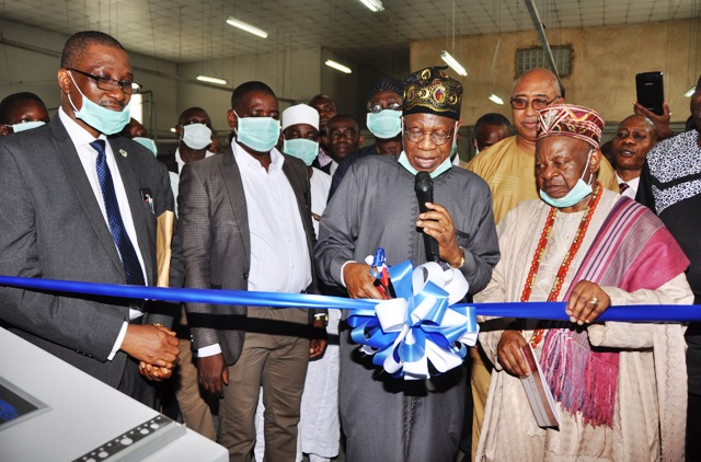 L-R Managing Director, Academy Press Plc., Mr. Gbenga Ladipo; Minister of Information and Culture, Alhaji Lai Mohammed, Chairman, Academy Press Plc., High Chief Simeon Oguntimehin, when the Minister commissioned some state-of-the-art facilities of the company in Lagos