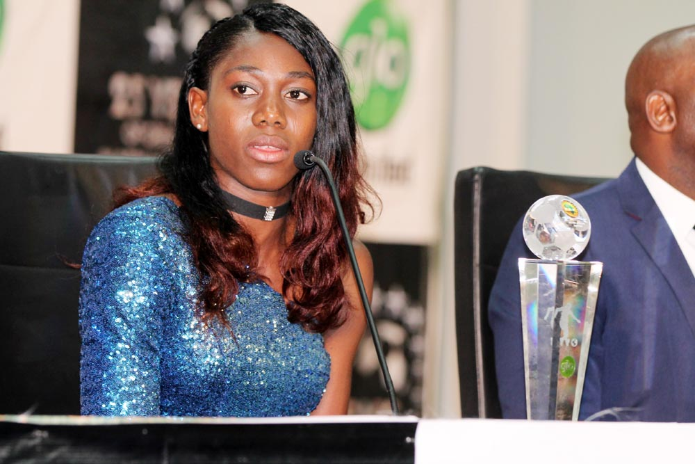 Oshoala at a press conference after receiving her award