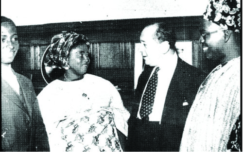 At the London Constitutional Conference in 1957 (L-R) Segun Awolowo, HID, a British friend, and Obafemi Awolowo
