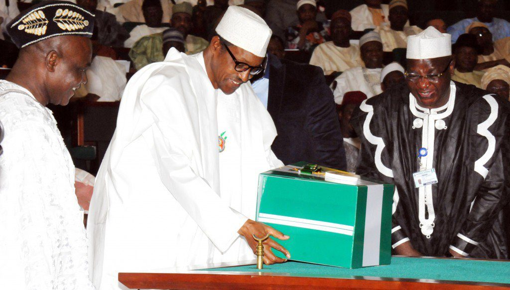 President Buhari lay the 2017 budget document on the table at the National Assembly