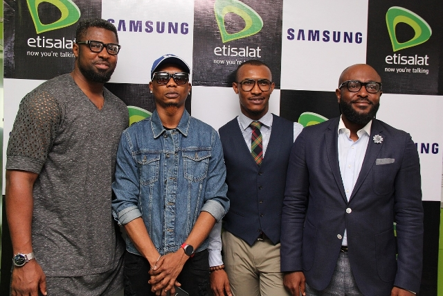 L-R: Celebrity TV Sports Presenter, Mozez Praiz; Hip Hop Artiste, Reminisce; Nollywood star, Giedon Okeke and the Director, Channel Sales, Etisalat Nigeria,Victor Nwaobia at the launch of the Samsung Experience Zone in the Etisalat Experience Centre, Adeola Odeku, Victoria Island, Lagos on Thursday.