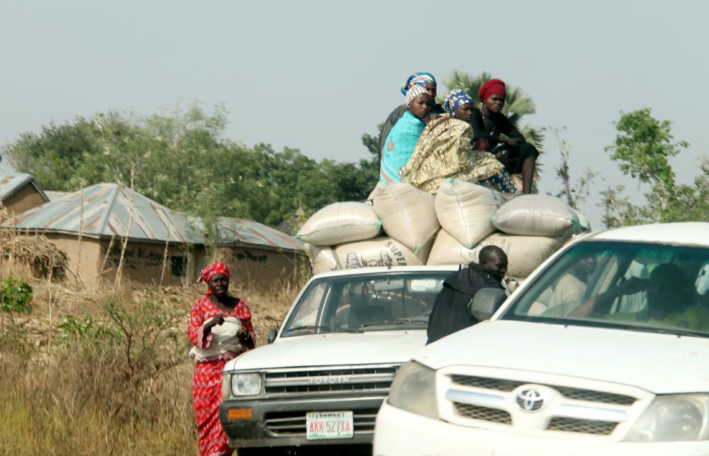 Women are also involved in the practice of 'dangerous perching' as shown in this image captured in Gombe-Adamawa Highway