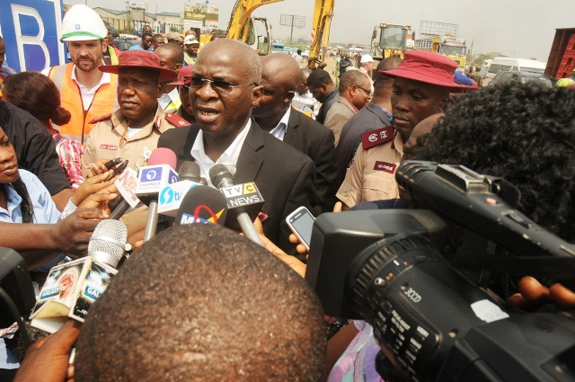 Hon. Minister of Power, Works and Housing, Mr Babatunde Fashola, SAN (2nd right) flanked by the Zonal Commanding Officer for RSZ of the Federal Road Safety Corps (FRSC), Assistant Corps Marshal Shehu Zaki (2nd left) , Lagos State Sector Commander of the FRSC, Mr Hyginus Umeje (right) and Commercial Manager of Julius Berger Nigeria Plc, Mr Hans Meletschus (left) while addressing media men shortly after inspecting the completed Phase One of the rehabilitation of the Long Bridge after 40 years of use as part of the reconstruction and rehabilitation of the Lagos-Ibadan Expressway by the Federal Government on Monday 12th December, 2016.