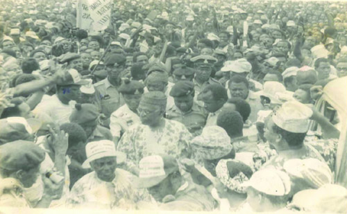 Hannah and Obafemi Awolowo arriving at a campaign rally in the Second Republic.