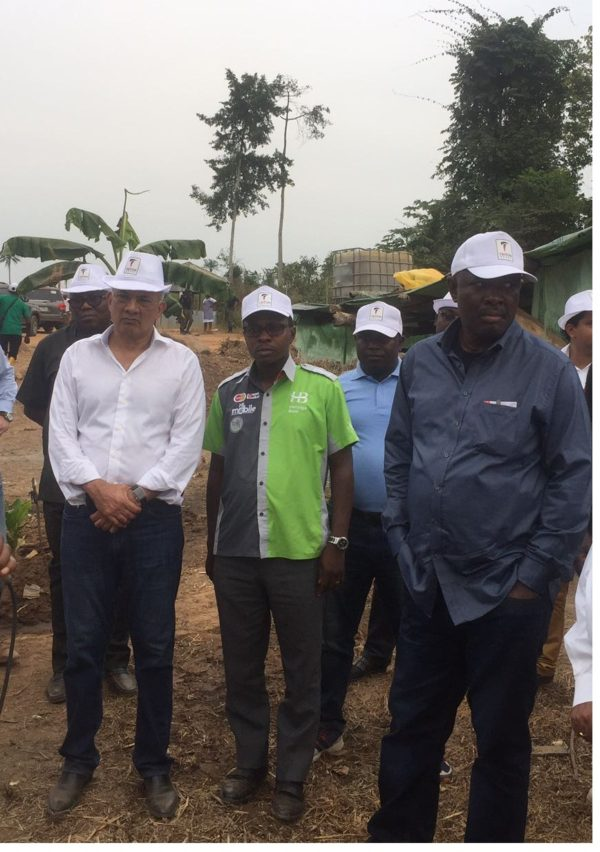 L-R: Minister of State for Agriculture, Heineken Lokpobiri; Divisional Head, Project and Development Finance of Heritage Bank Plc, Dele Faseemo and the Chairman, Triton Group, Ashin Samtani, during a tour at Triton Aqua Africa farm sites at Gambari Town in Oyo State..Friday