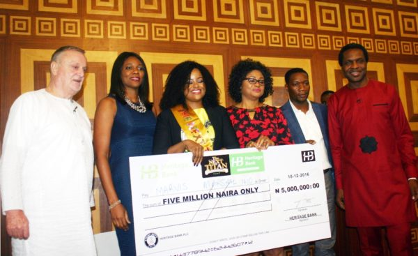 L-R: Member, Panel of Judges, The Next Titan season-3, Mr. Chris Parkes; Chairman/CEO of CPMS Africa; Mrs. Lilian Olubi, CEO of Primera Africa Securities Limited; Winner of the Next Titian, Mrs. Marvis Marshal-Idio; Divisional Head, Retail/SME, Heritage Bank Plc, Mrs. Ori Ogba; CEO of The Next Titan, Mr. Mide Kunle-Akinlaja and member, Panel of Judges, Mr. Tonye Cole, CEO of Sahara Group; at the presentation of N5million to the winner of The Next Titan, Season-3 in Lagos…on Sunday