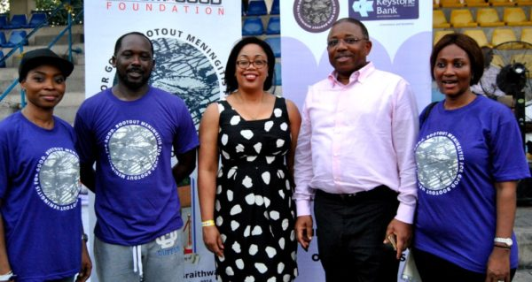 L-R: Administrator, Boom for Good Foundation, Ms. Kate Alaneme-Douglas; Host/Coordinator, Boom for Good Foundation/Father of the Late Temi Braithwaite, Mr. Des Braithwaite; Chairman of the Foundation, Dr. Pamela Ajayi; Trustee Mr. Philip Ikeazor and Mother of the Late Temi Braithwaite, Mrs. Ajoke Braithwaite, during the 2nd Anniversary of the Foundation at Campos Mini Stadium Lagos Island..Friday in Memory of Temi Braithwaite who died of Meningitis in 2014