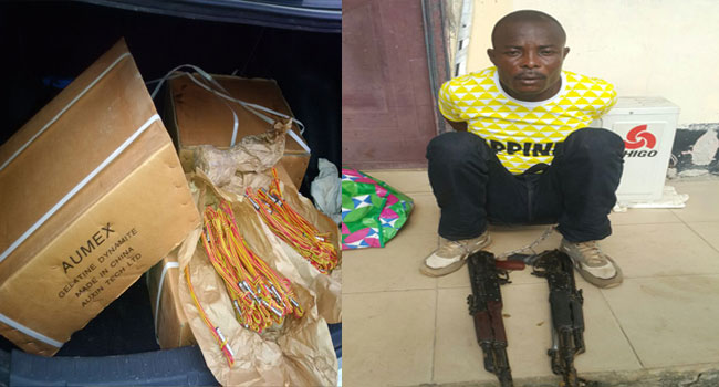 The arrested militant and the explosives