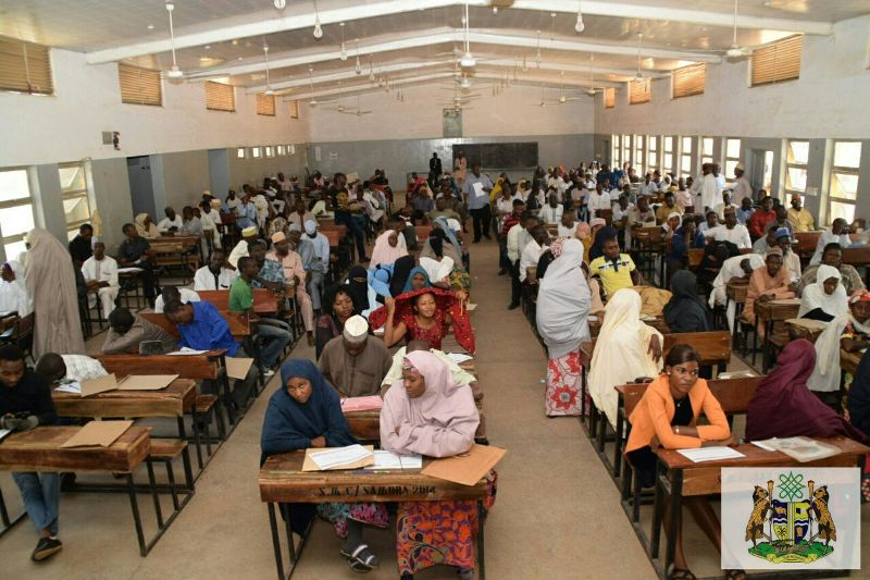 N-Power volunteer graduates being engaged by the FG in Kaduna undergoing verification