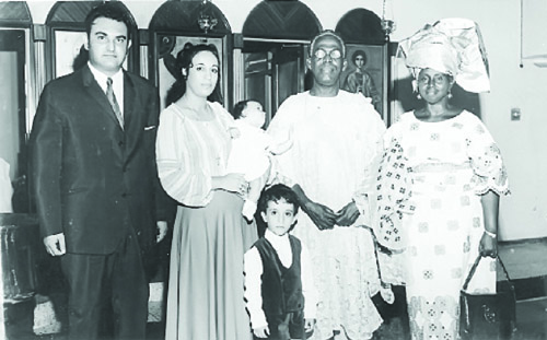 Obafemi and Hannah Awolowo with a white couple