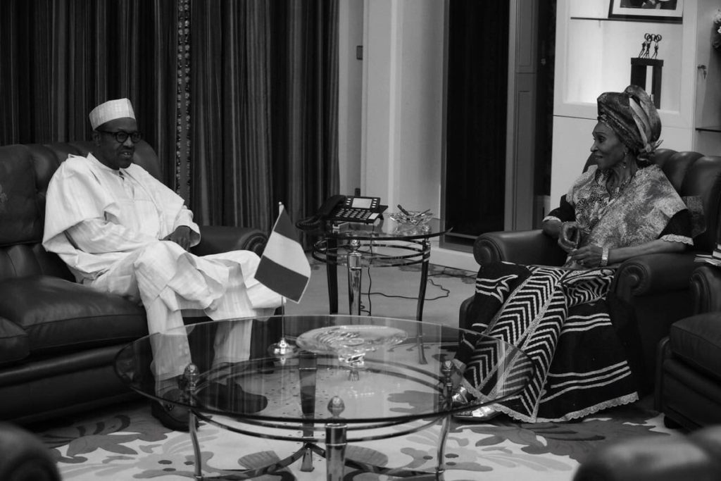 The late  Otunba Bola Kuforiji-Olubi at a meeting with President Buhari on Oct 20, shortly after she turned 80.