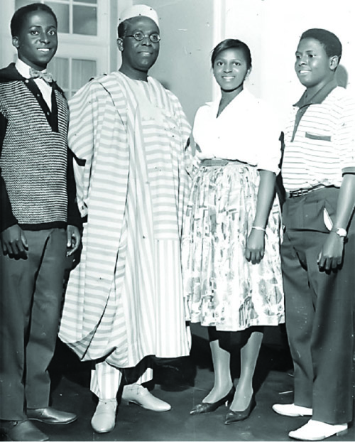 Olusegun, Obafemi, Omotola and Oluwole Awolowo in London, August 1960. Obafemi Awolowo had stopped over in London tosee his children on the way to the Summer Olympic Games held in Rome, Italy