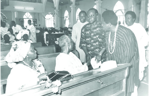 The Awolowos greeting Chief Solomon Lar (standing second left) with Wole Awolowo behind Lar.