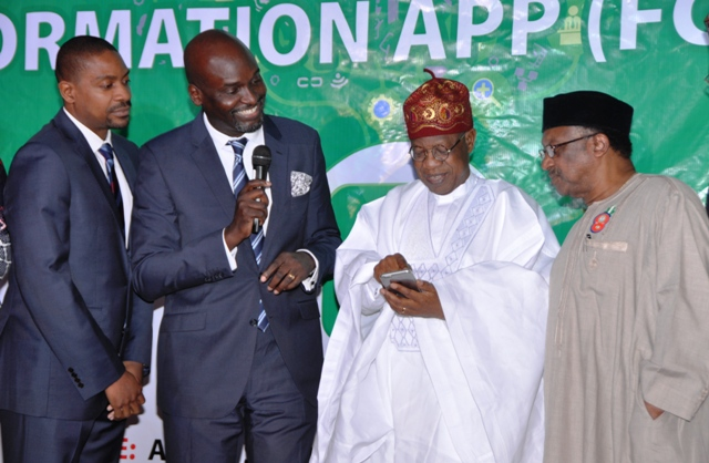 From left: Chief Technology Officer of L-Cube, Diji Adu, the Chief Executive Officer of L-Cube, Mr. Olawale Wale-Falope, Minister of Information and Culture, Alhaji Lai Mohammed, and the Minister of State for Health, Dr. Osagie Ehanire, at the launch of the Federal Government of Nigeria Information App (FGN IAPP) in Abuja on Thursday.
