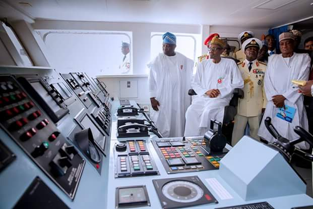 President Buhari inside the newly commissioned ship