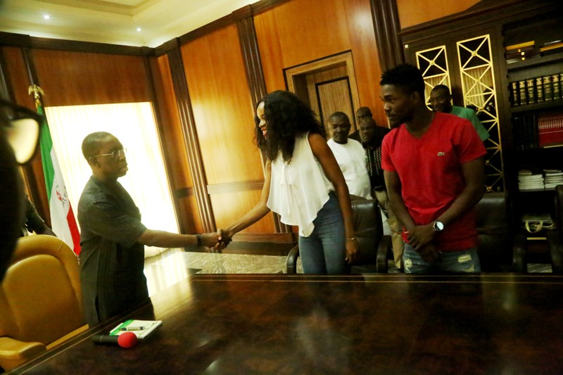 Governor Okowa; Miss  Ighorodje and Okiemute during the courtesy visit