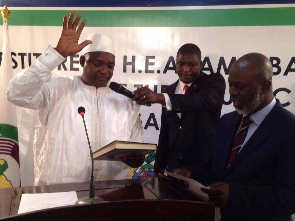 Barrow being sworn in as the new President of The Gambia