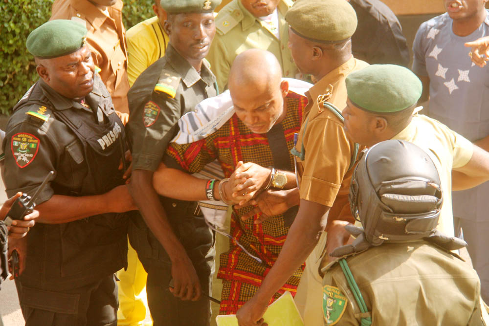 The IPOB leader refused attempts by warders to take him through a private entrance