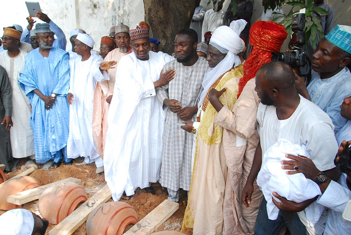 Prayer at the grave side before the burial of the late governor