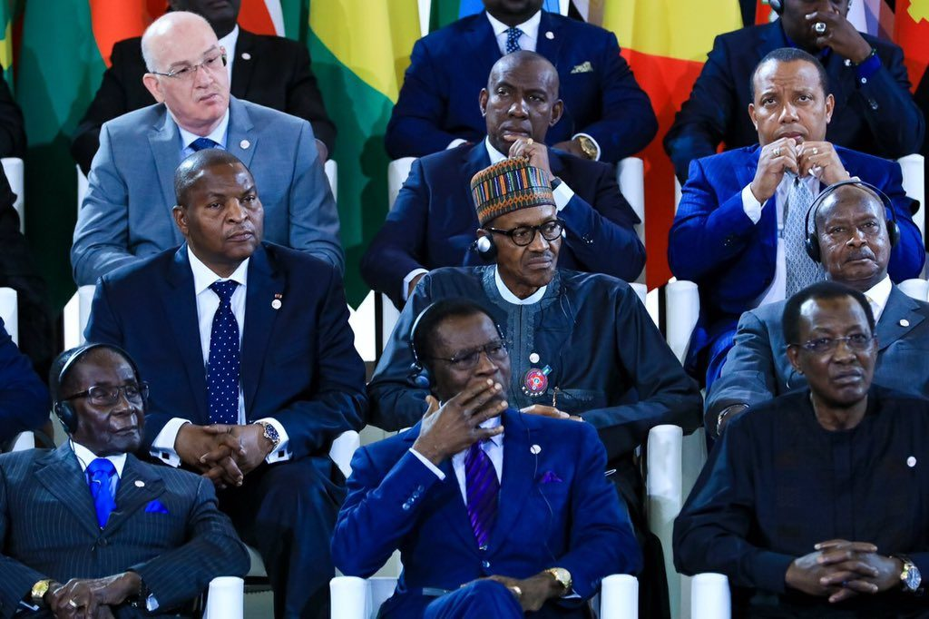 President Buhari and other African presidents at the summit