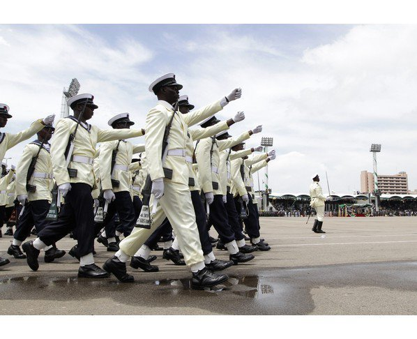 File: Nigerian Navy personnel on parade