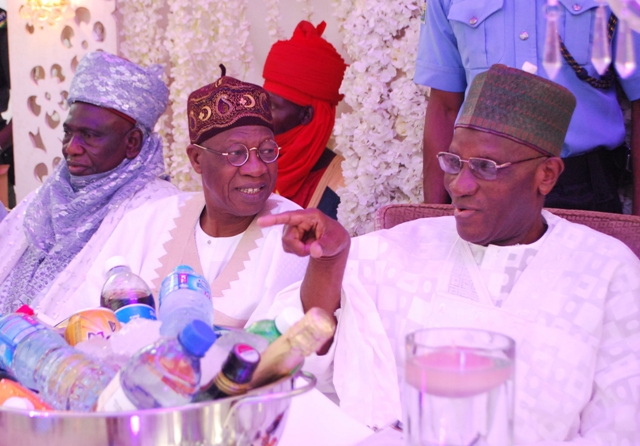 Minister of Information and Culture, Alhaji Lai Mohammed (middle), flanked by the former Chief Justice of Nigeria, Alfa Belgore ( right) and the representative of Sulu Gambari (left)at the 80th birthday celebration of the retired Chief Judge in Abuja on Saturday.