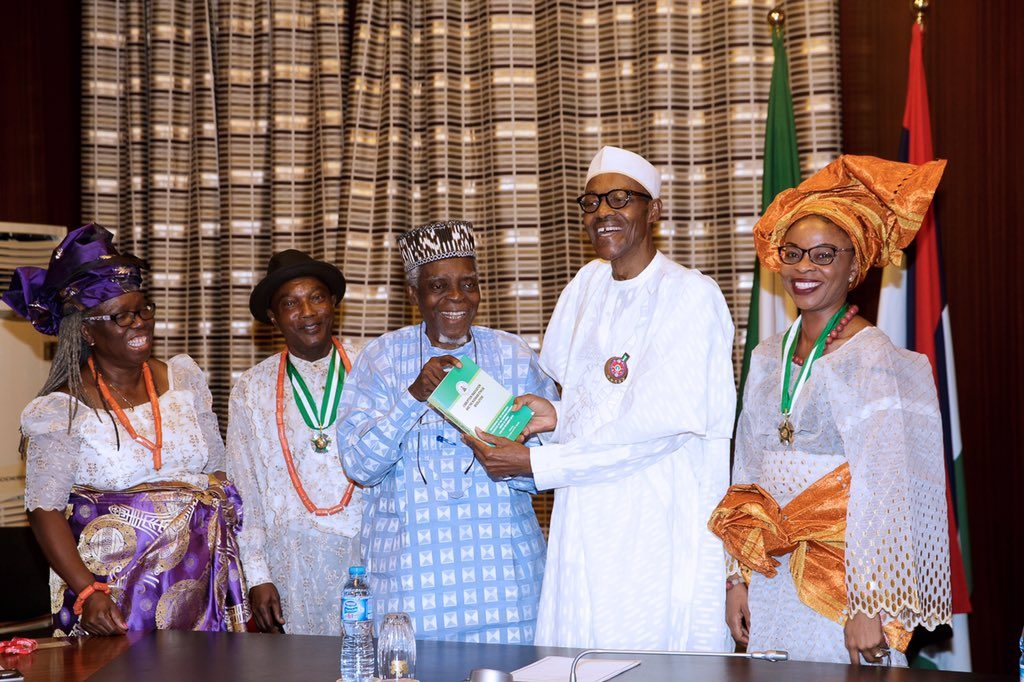 The president when he received recipients of the 2016 Nigerian National Order of Merit (NNOM) at the State House, Abuja, on Thursday.