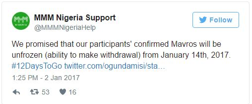 Screen-grab of MMM twitter promise to unfreeze accounts