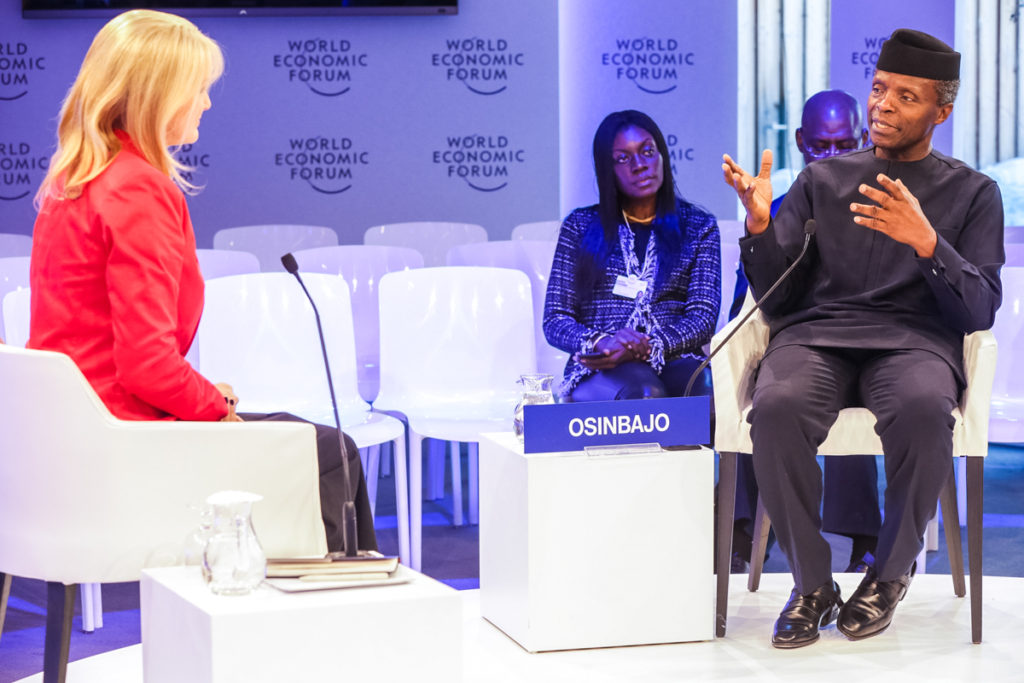 Vice President Prof Yemi Osinbajo with Ms. Brownwyn Nielsen, CNBC Africa Anchor during the One-on-One Session. Photo by: Novo Isioro