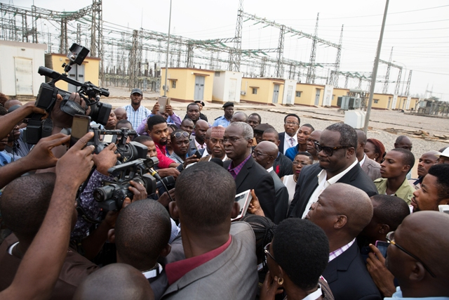 Fashola, SAN (middle) speaking with Journalists shortly after inspecting the TCN Ikeja West 330/132 KV Transmission Station after the Eleventh Monthly Meeting with Operators in the Power Sector at the  TCN Ikeja West Transmission Station, Ayobo, Ipaja,Lagos State on Monday  9th, January 2016.  With him are Managing Director of the Transmission Company of Nigeria, Engr. Abubakar Atiku(left)and Chairman, Egbin Power Plc, Mr Kola Adesina(right)
