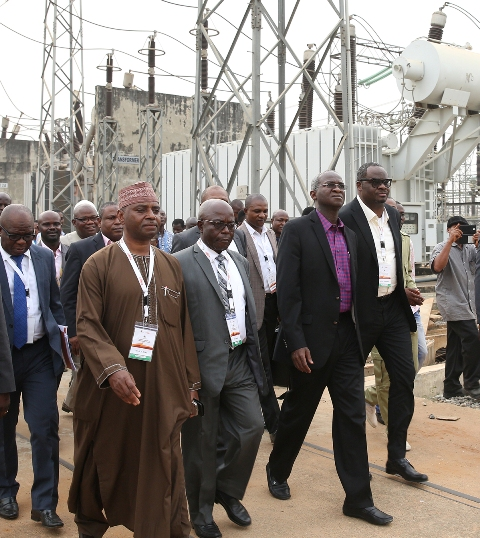 Minister of Power, Works & Housing, Mr Babatunde Fashola being conducted round the TCN's Ikeja West 330/132 KV Transmission Station, Ayobo along with the Managing Director of the Transmission Company of Nigeria, Engr. Abubakar Atiku(left), Chairman, Egbin Power Plc, Mr Kola Adesina(right) and Managing Director, Transmission Service Provider, Engr. Tom Uwah shortly after the Eleventh Monthly Meeting with Operators in the Power Sector at the  TCN Ikeja West Transmission Station, Ayobo, Ipaja, Lagos State on Monday  9th, January 2016.