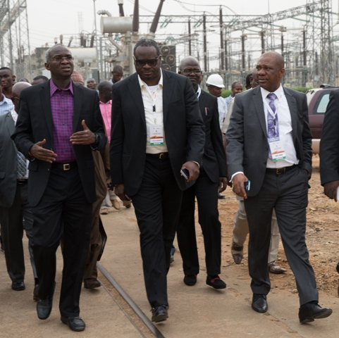 Fashola, (left), being conducted round the TCN's Ikeja West 330/132 KV Transmission Station, Ayobo along with Chairman, Egbin Power Plc, Mr Kola Adesina(middle) and Engr. Bede Opara (right)