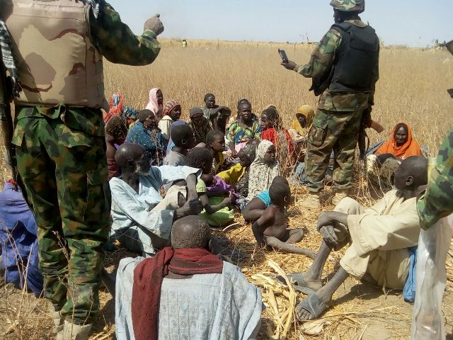 Some of the people rescued by the Army during the clearance operations