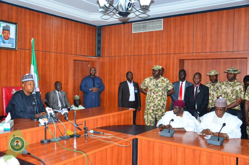 The Federal Government delegation at Borno Government House