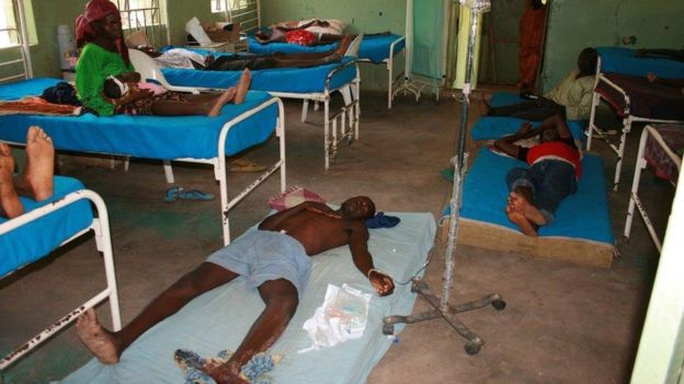 Hospital ward filled with victims of bites from snakes. Credit: BBC