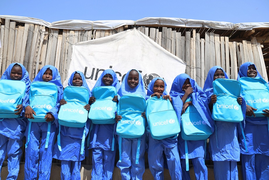 Pupils with bags provided by UNICEF in Northeast Nigria